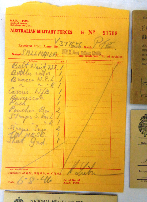 Australian WWII Discharge Papers for PTE. Ernst Sallmaier