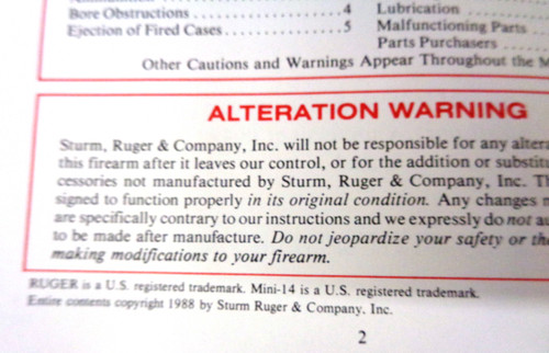 Instruction Manual for Ruger Mini-14 Rifle by Sturm, Ruger & Company 1988
