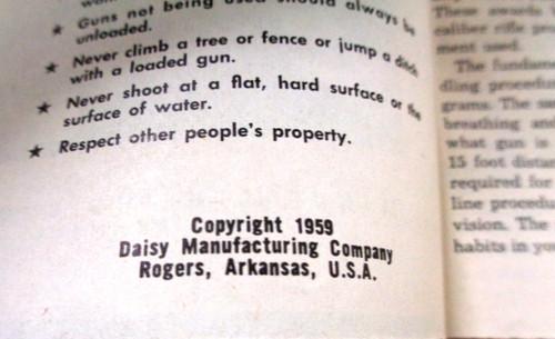 Daisy Air Rifle Instruction Manual 1959