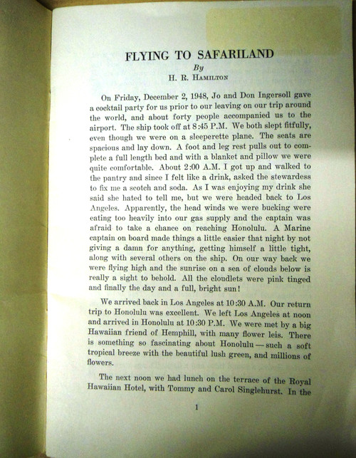 Flying to Safariland by H.R. Hamilton