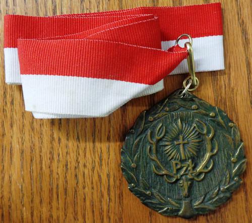 "Polish ""King of the Hunt"" Shooting Medal with Ribbon"