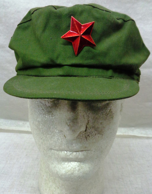 Vietnam Era PRC Army Cap with Red Star Cap Pin and Flag