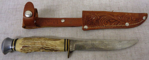 Ideal Products Stag Handled Knife w/Sheath