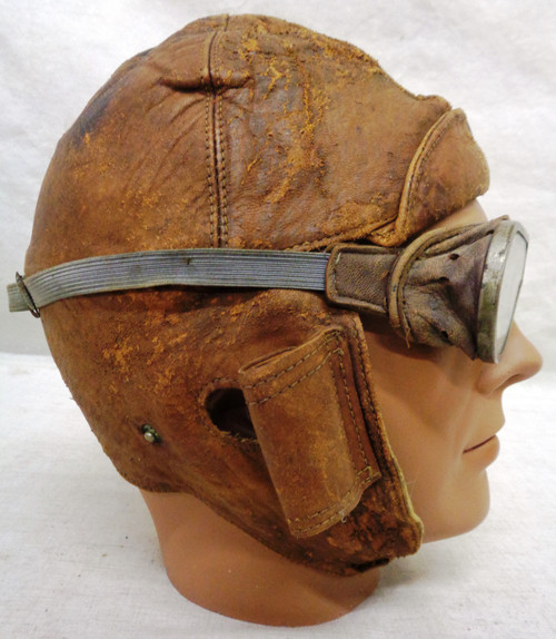 British WWI Flight Helmet with MkII Goggles - used by the RFC