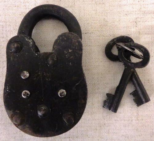 Antique Iron Jail Lock with 2 Keys circa 1800's