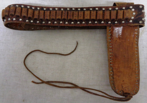 """Embossed and Studded Leather Belt and Holster for 7-1/2"""" Single Action Revolver"""