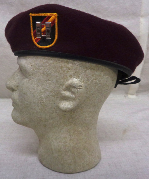 U.S. Army Special Forces Maroon Beret with Flash and Captain's Rank