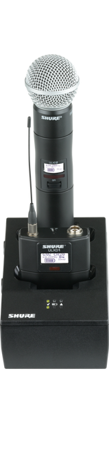 Shure SBC200 Dual Docking Charger, no power supply, shown with beltpack & handheld transmitters