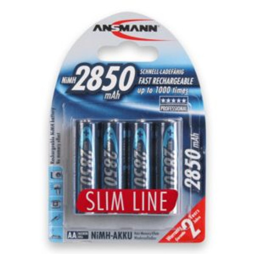 Ansmann AA Rechargeable Batteries, Slim Line