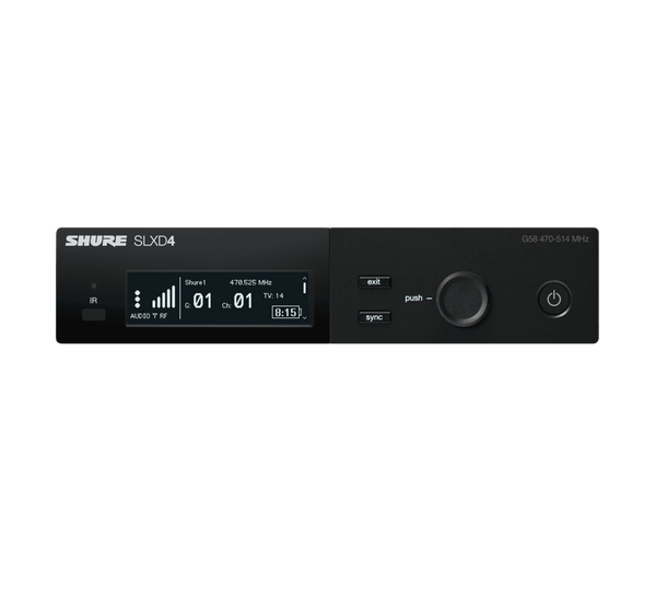 Shure SLXD4 Digital Wireless Receiver, front view