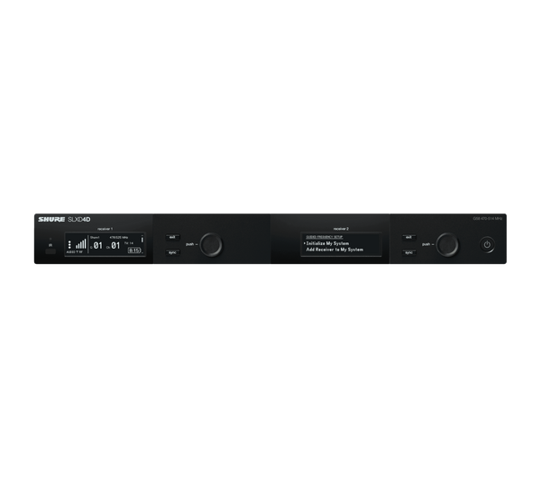 Shure SLXD4D Dual Channel Receiver, front view