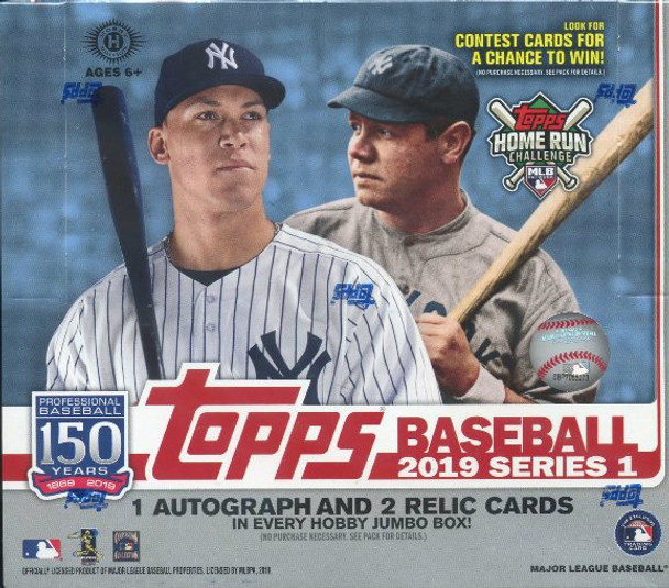 2019 Topps Series 1 Baseball Jumbo Box plus 2 Silver Packs