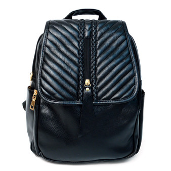 Black Leather Backpack for Ladies