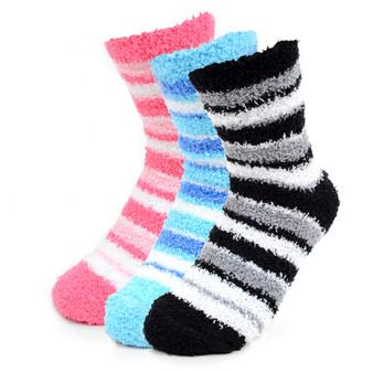 Women's Striped Warm Fuzzy Socks
