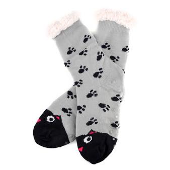 Women's Cat Plush Fleece Lined Sherpa Slipper Socks