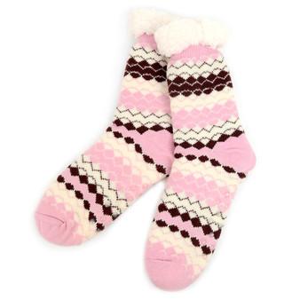 Women's Plush Sherpa Winter Fleece Lining Pink Slipper Socks