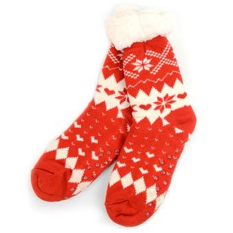 Women's Plush Sherpa Winter Fleece Lining Christmas Slipper Socks
