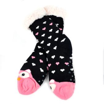 Women's Pink Owl Plush Sherpa Winter Fleece Lined Slipper Socks