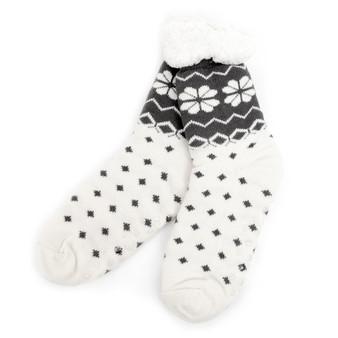 Women's Plush Sherpa Winter Fleece Lining Nordic Slipper Socks