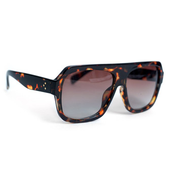 Ladie's Brown Tortoise Rectangular Sunglasses