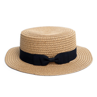 Spring/Summer Ribbon Round Flat Top Ladies' Hat