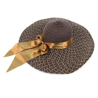 """Women's 6"""" Brim Brown Bow Floppy Hat"""