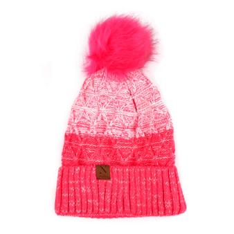 Women's Split-Toned Pom Pom Knit Winter Hat