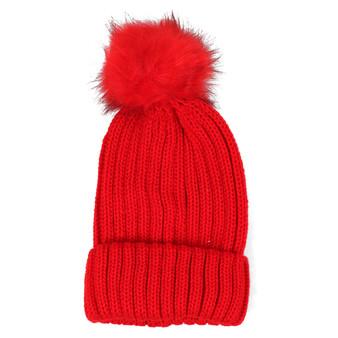 Ladies Red Knit Winter Hat