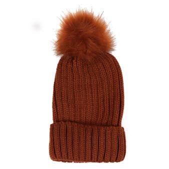 Ladies Brown Knit Winter Hat