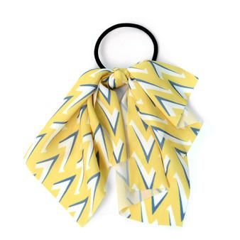 Ladies Yellow Geometric Ribbon Hair Tie