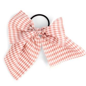 Ladies Pink Checkered Ribbon Hair Tie