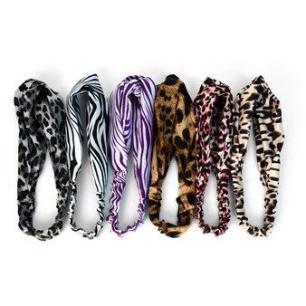 12pc Assorted Ladies Criss Cross Animal Print Summer Headbands