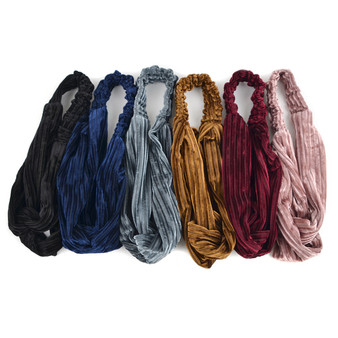 12pc Assorted Ladies Velvety Criss-Cross Solid Headbands