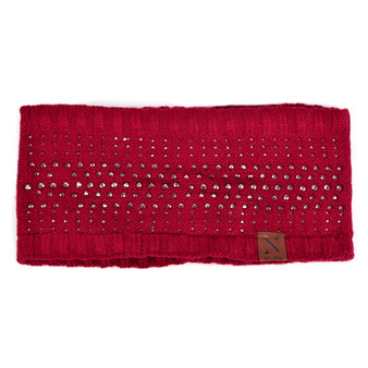 Women's Studded Fleece Lined Knit Winter Head Band