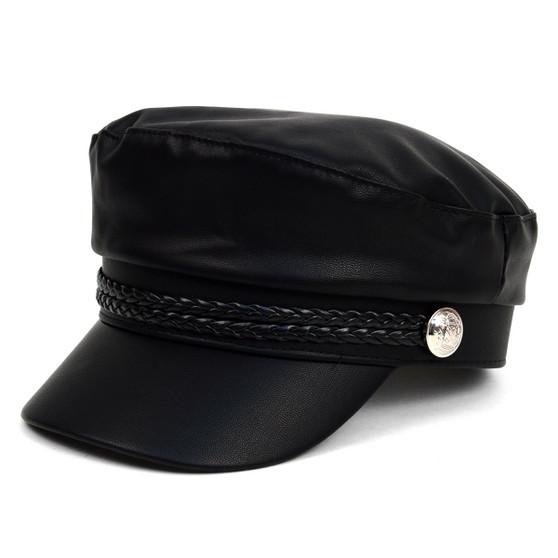 Women's Spring/Summer Black Leather Baker Cap