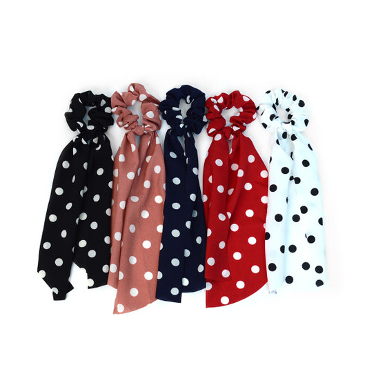 12pc Polka Dots Scrunchie Ribbon Hair Tie