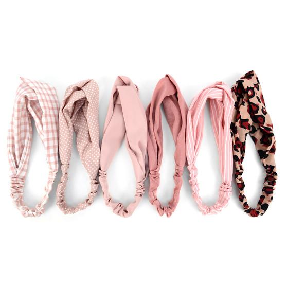12pc Assorted Ladies Criss Cross Pink Summer Headbands