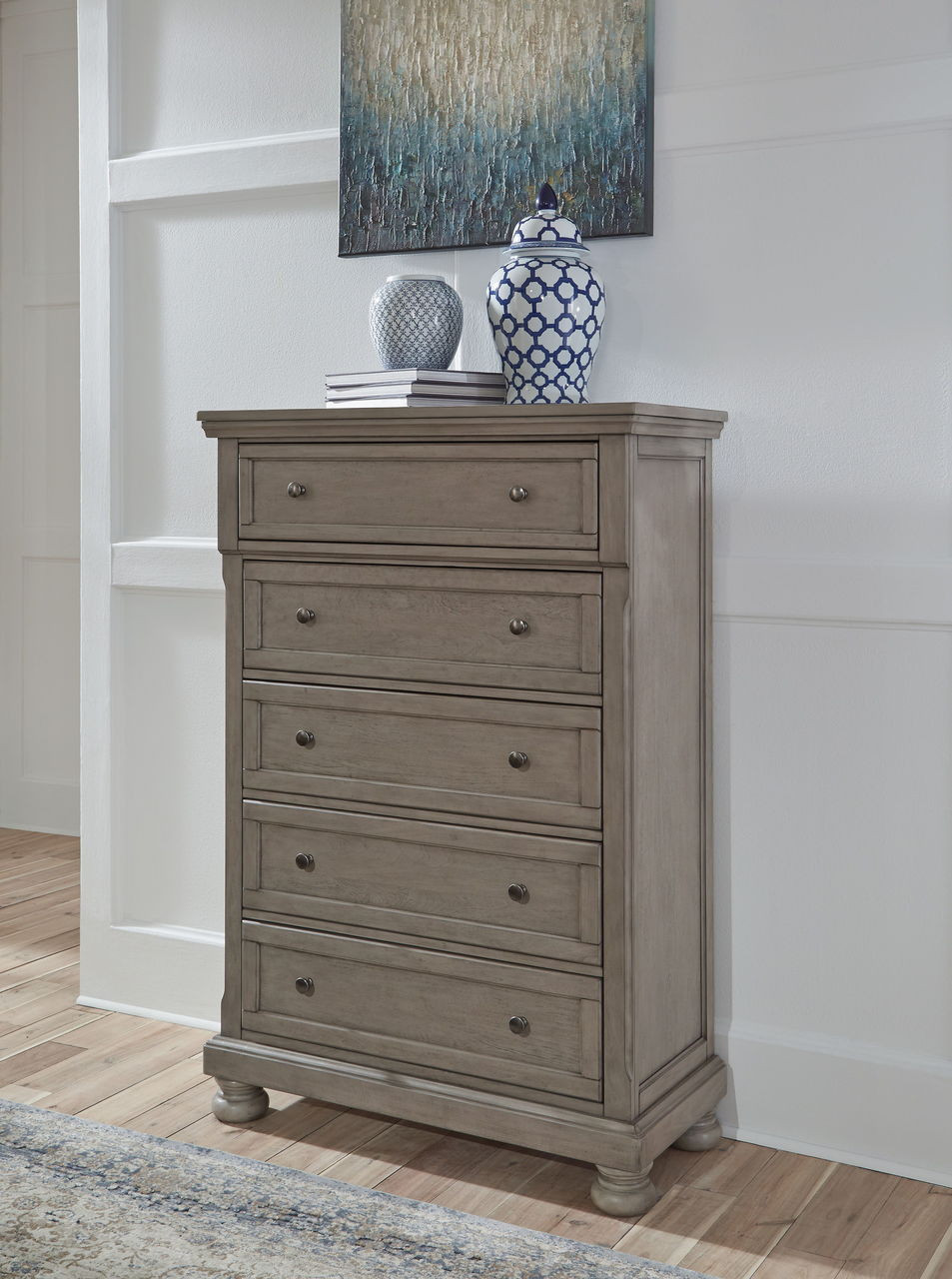 The Lettner Light Gray Five Drawer Chest Available At Gibson Mcdonald Serving Waycross Ga And Surrounding Areas
