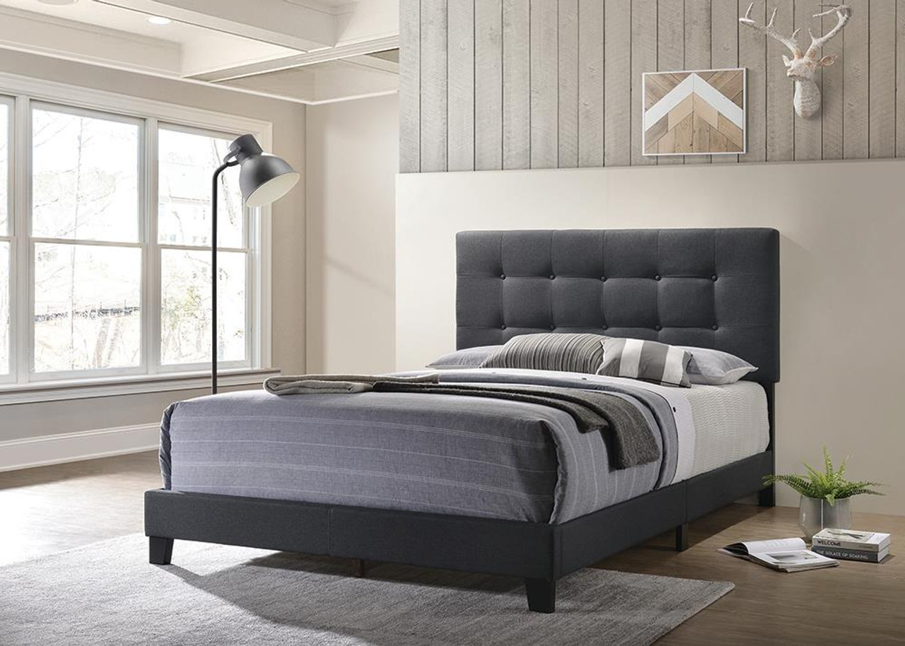 The Mapes Upholstered Tufted Eastern King Bed Charcoal Available At Gibson Mcdonald Serving Waycross Ga And Surrounding Areas