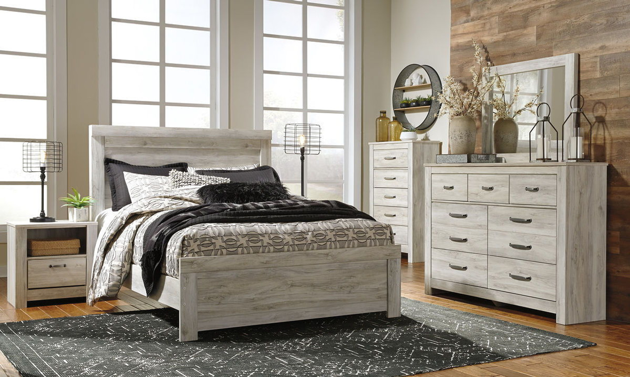 Picture of: The Bellaby Whitewash 5 Pc Dresser Mirror Queen Panel Bed Available At Gibson Mcdonald Serving Waycross Ga And Surrounding Areas