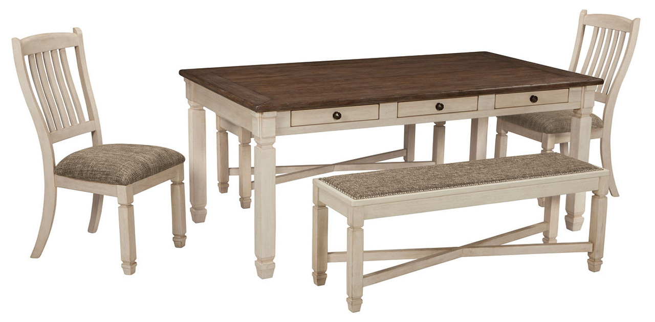 Signature Design By Ashley Casual Style Bolanburg Round Drop Leaf Counter Table Antique White