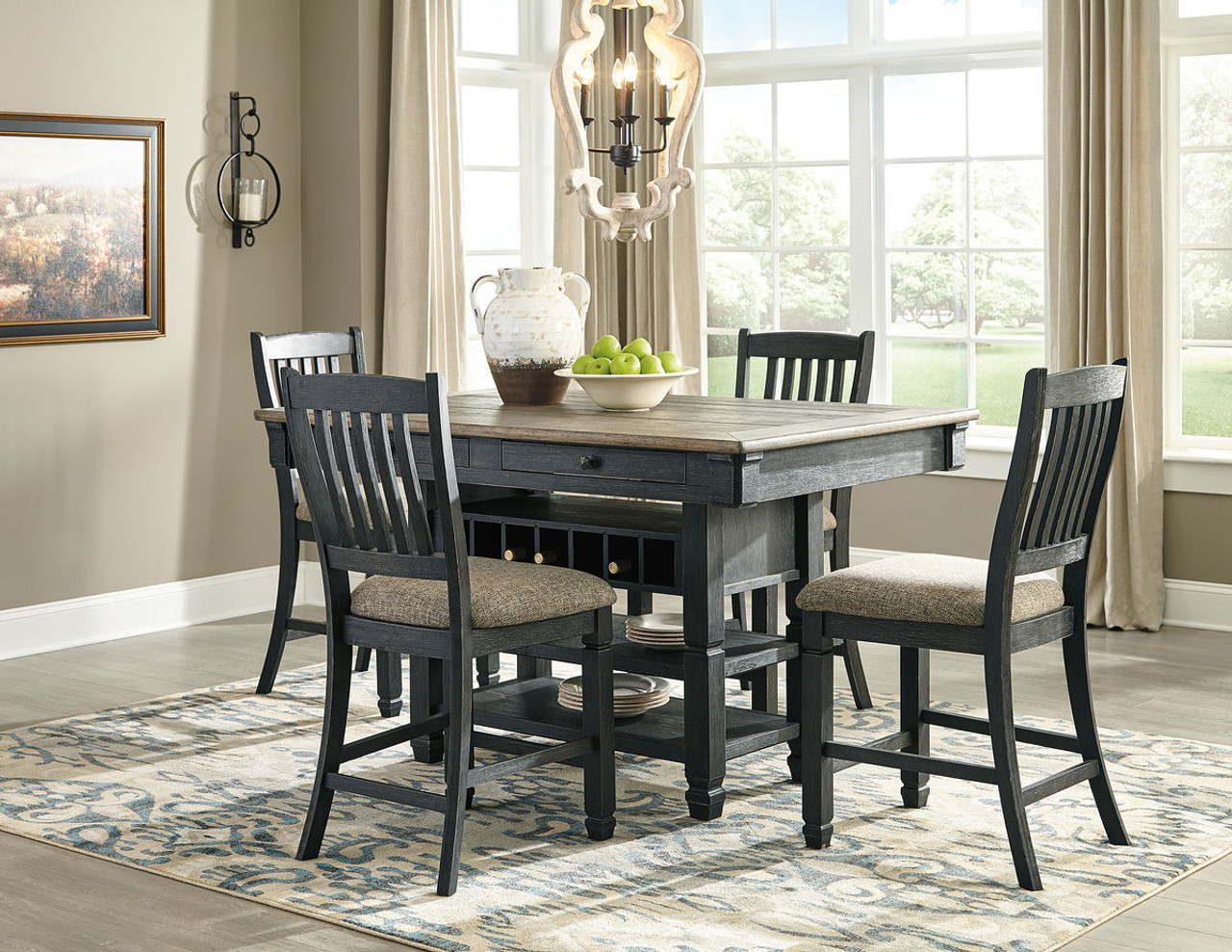 The Tyler Creek Blackgray 5 Pc Rectangular Counter Height Dining