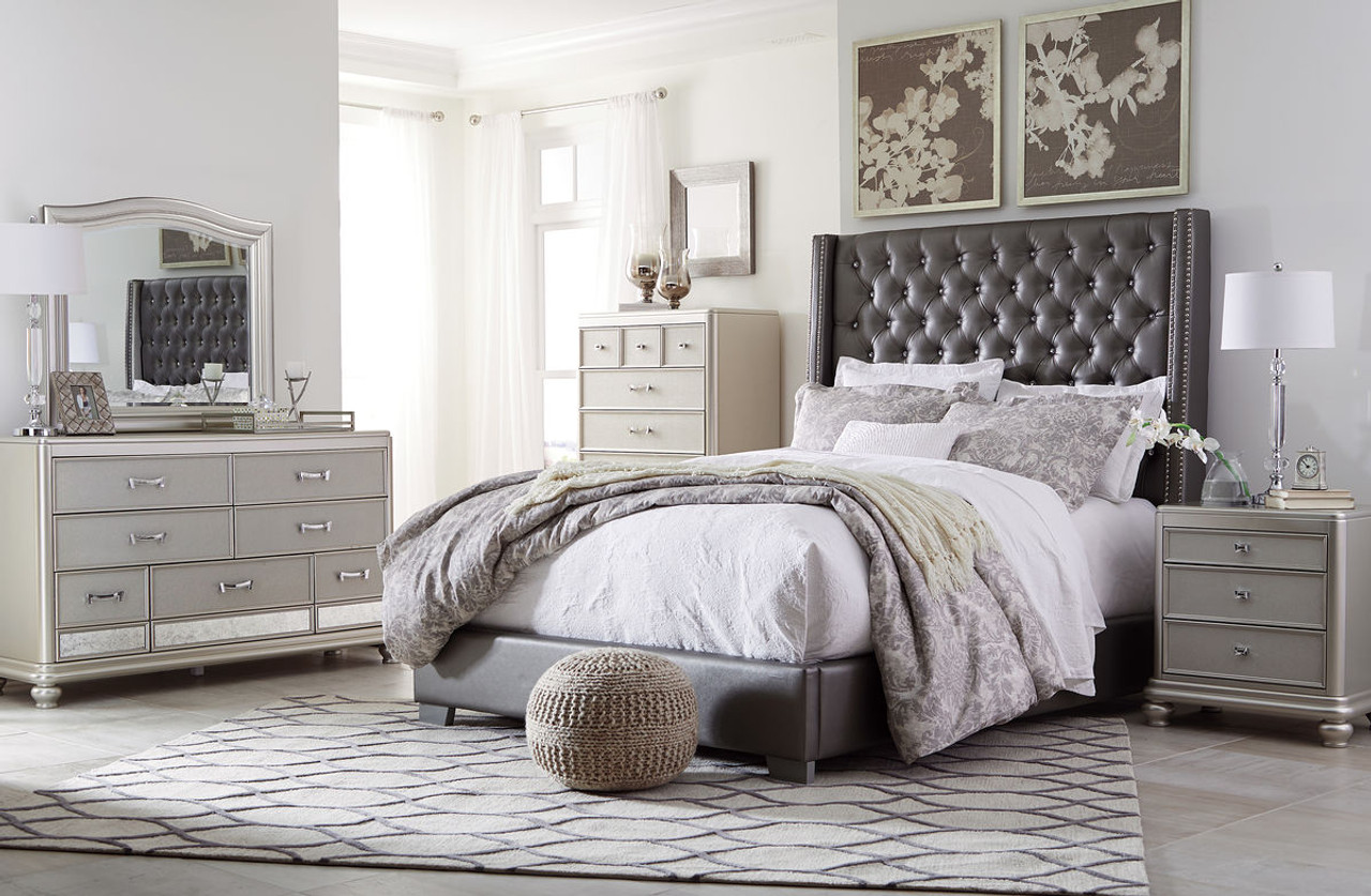 The Coralayne Silver 4 Pc Queen Upholstered Bedroom Collection Available At Gibson Mcdonald Serving Waycross Ga And Surrounding Areas