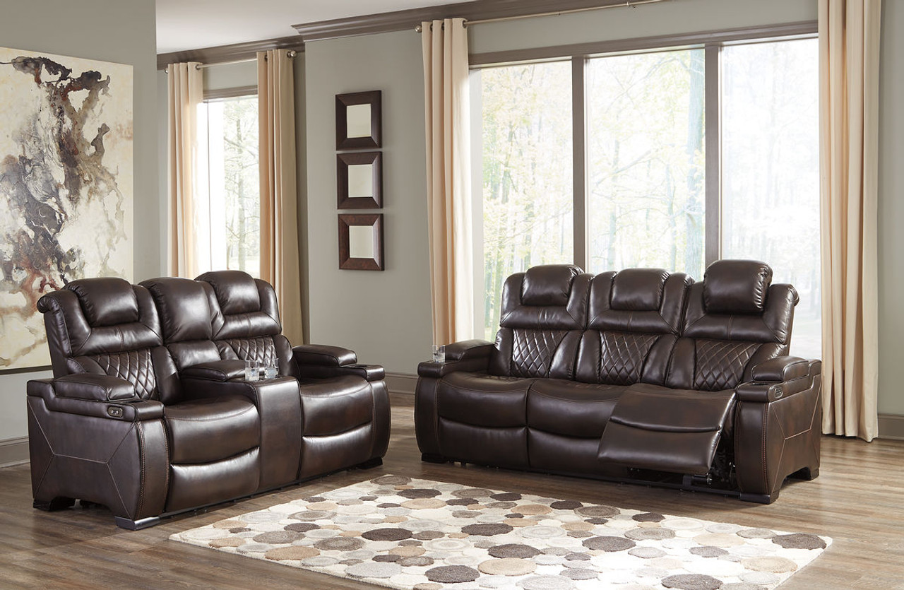 The Warnerton Chocolate Power Reclining Sofa Loveseat Available At