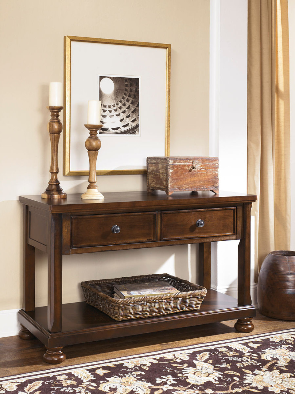 The Porter Rustic Brown Console Sofa Table available at Gibson ...