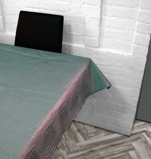 Croc Embossed Leatherette Tablecloth-Silver
