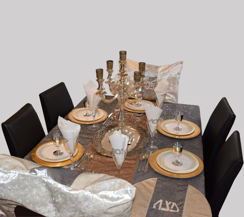LIMITED EDITION Silver and Gold Velvet Runway Tablecloth