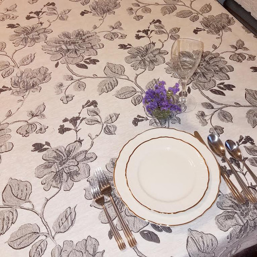 Blooms Tablecloth-Grey