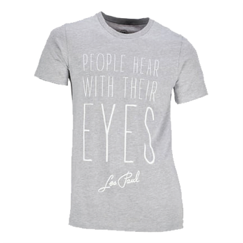 "Les Paul ""People Hear With Their Eyes"" Silver Grey Tee"