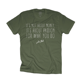 "Les Paul ""It's Not About The Money..."" Khaki Green Tee"